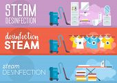 Steam Disinfection At Home. Cleaning Service Business Concept. Advertising Banner Cleaning Service.  poster