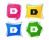 Energy Efficiency Class Icons. Energy Consumption Sign Symbols. Class D, E, F And G. Geometric Color poster