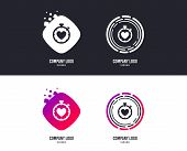 Logotype Concept. Heart Timer Sign Icon. Stopwatch Symbol. Heartbeat Palpitation. Logo Design. Color poster