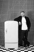 Bright Fridge Household Appliances Interior Object. Designer Adding Accent To Interior. Man Lean Ret poster