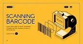 Barcode Scanning Equipment Store Web Banner Or Site Isometric Vector With Desktop Barcode Reader, St poster