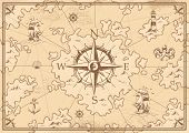 Vintage Monochrome Treasure Map Concept With Navigational Compass Lighthouse Ship Octopus Seashell A poster