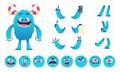 Monster Constructor. Eyes Mouth Emotions Parts Of Cute Funny Creatures For Games Vector Design Creat poster