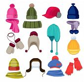 Winter Hat Cartoon. Headwear Cap Scarf And Other Fashion Accessories Clothes In Flat Style Vector Il poster