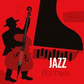 Jazz Music Festival Poster With Piano And Contrabass Flat Vector Illustration. Music Background With poster