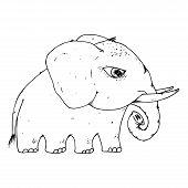 Elephant Icon. Vector Illustration Of Cartoon Elephant. Hand Drawn Cute Elephant. poster