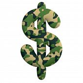 Army dollar currency sign - 3d Camo symbol isolated on white background. This alphabet is perfect fo poster