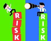 Businessman Sit On Risk Block With Binocular And Business Man Falling From Risk Block, Risk Manageme poster