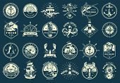 Vintage Monochrome Maritime Emblems Set With Nautical And Marine Elements On Blue Background Isolate poster