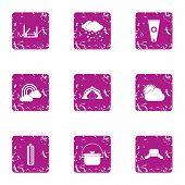 Meteorological Observation Icons Set. Grunge Set Of 9 Meteorological Observation Vector Icons For We poster