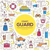 Coast Guard Day Illustration Vector Outline Icon Set. Thin Line Guarding The Order Elements Concept poster