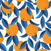 Tropical Seamless Pattern With Oranges. Fruit Repeated Background. Vector Bright Print For Fabric Or poster