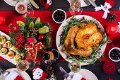 Baked Turkey. Christmas Dinner. The Christmas Table Is Served With A Turkey, Decorated With Bright T poster