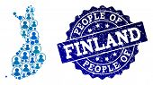 People Combination Of Blue Population Map Of Finland And Unclean Seal Stamp. Vector Seal With Unclea poster