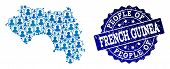 People Composition Of Blue Population Map Of French Guinea And Scratched Seal Stamp. Vector Seal Wit poster