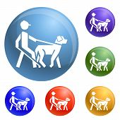 Blind Man Dog Pet Icons Set Vector 6 Color Isolated On White Background poster