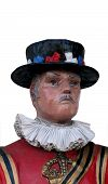stock photo of beefeater  - Beefeater mannequin head and shoulders isolated on white background - JPG