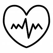 Heartbeat Line Icon. Pulse Vector Illustration Isolated On White. Cardiogram Outline Style Design, D poster