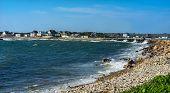 Wave Crash Stony Beach Westport Point Massachusetts Buzzards Bay Atlantic Ocean.  Waves Crashing On  poster