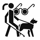 Woman Blind Dog Guide Icon. Simple Illustration Of Woman Blind Dog Guide Icon For Web Design Isolate poster