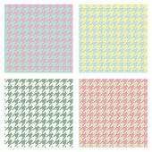 Set Of Seamless Duotone Textile Patterns. Chekered Ornament Houndstooth, Hounds Tooth Check, Hounds poster