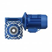 Worm Gear Motor With Electric Motor. Vector Illustration On White Background. 3d poster