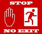 Постер, плакат: Векторные иллюстрации стоп сигнала выхода нет