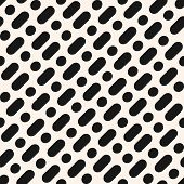 Vector Minimalist Monochrome Seamless Pattern. Simple Geometric Background With Diagonal Rounded Lin poster