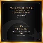 24 Kasim Ogretmenler Gunu Vector Illustration. (24 November, Turkish Teachers Day Celebration Card.) poster