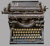 Antique Russian Typewriter. Old Vintage Russian Typewriter On Isolated Gray Background With Clipping poster