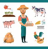 Cartoon Farm Clipart Collection With Bearded Smiling Man As Farm Worker, Farm Animals (pig And Cow)  poster