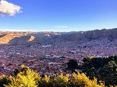 Overview Of The Ancient City Of Cusco, Peru Near Sundown.  The Viewpoint Is From The Cusco Landmark, poster