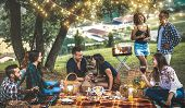 Happy Friends Having Fun At Vineyard After Sunset - Young People Millennial Camping At Open Air Picn poster