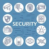 Security Flat Icons Set. Information Technology Security Icons Set Of Wireless Data Transfer Protect poster