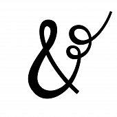 Handwritten Elegant Custom Ampersand On White Background.  Isolated. Vector Illustration. Great For  poster