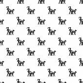 Blind Girl Dog Guide Pattern Seamless Vector Repeat For Any Web Design poster