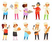 Cooking Child Vector Children Characters Boy Girl Chef Cooking Food Baking Cookies Illustration Kitc poster