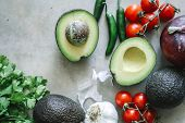 Ingredients for a fresh guacamole food photography recipe idea poster