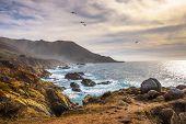 Coastline Scenery On Pacific Coast Highway Near Big Sur In California, Usa poster