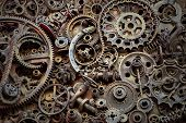 Steampunk Texture, Backgroung With Mechanical Parts, Gear Wheels, Steam Punk Cogwheels, Heap Of Auto poster