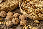 Walnuts On Rustic Natural Burlap, Walnut Kernels In Wicker Basket, Walnut Background poster