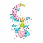 A Little Girl Sleeping And Dreaming, Hanging On A Crescent Moon Among The Stars And Clouds. Little G poster