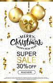 White Luxury Christmas Sale Background With Golden Balls Snowflakes And Serpantine. Premium White Vi poster