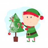 Cartoon Christmas Elf Postcard Element Design. Illustration Of Elf In Green Costume Decorating Fir T poster