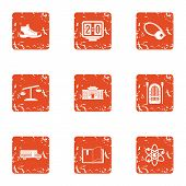 Chemical Sport Icons Set. Grunge Set Of 9 Chemical Sport Icons For Web Isolated On White Background poster