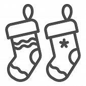 Christmas Socks Line Icon. Two Stuffer Socks Vector Illustration Isolated On White. Christmas Stocki poster