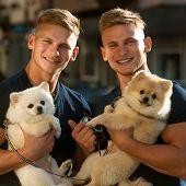 Lucky To Be Together. Twins Men Hold Pedigree Dogs. Happy Twins With Muscular Look. Muscular Men Wit poster