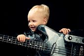 Enjoy Live Music. Little Guitarist In Rocker Jacket. Little Rock Star. Child Boy With Guitar. Rock S poster