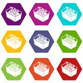 Hand Wash 30 Degrees Celsius Icons 9 Set Coloful Isolated On White For Web poster