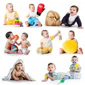 pic of nipples  - Collection photos of a toddlers on white background - JPG
